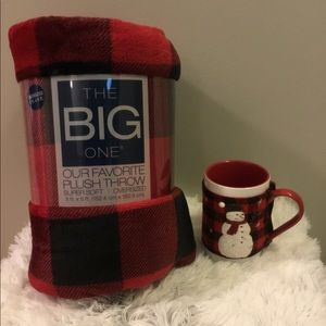 🎈🎈the big one red/black Throw with snowman mug